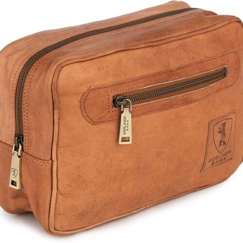 Berliner Bags Bolsa para cosméticos Paul Estuche de maquillaje Bolsa de afeitado de cuero para Hombres Mujeres Marrón Vintage