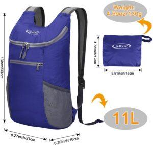G4Free 11L Mochila Pequeña Plegable Ultraligera detalles para campamento o salidas rurales azul real