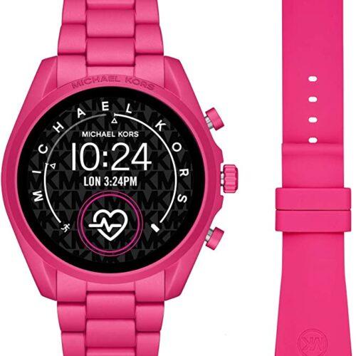 Michael Kors Smartwatch con Pantalla táctil Gen 5 Bradshaw 2 con Caja de Aluminio y Correa en Tono Rosa Fuerte MKT5099
