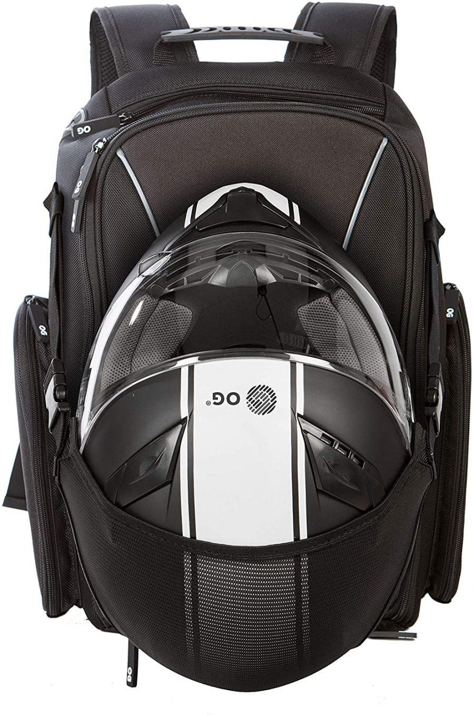 La Mochila OG para moto 🛵 es la número 1 en mochilas y bolsos para moto. HECHA PARA MOTEROS. Está equipada con el sistema pionero DHT para transportar dos cascos a la vez si fuera necesario. El material es 100% poliéster de alta calidad, impermeable y perdurable resistente al desgaste. Incorpora una funda protectora para casos de lluvia extrema. Posee un diseño práctico, ergonómico, y apuesta por un look minimalista y sencillo con el logotipo OG en la parte frontal. Dispone de bolsillo antirrobo. Las mejores mochilas para moto de 2021
