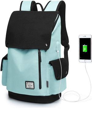 WindTook Mochila Universitaria Mujer de Lona 15.6 Pulgadas Mochila Ordenador Portatil con Puerto de USB en azul cielo, fris, rojo y negro, verde bosque, blanco.
